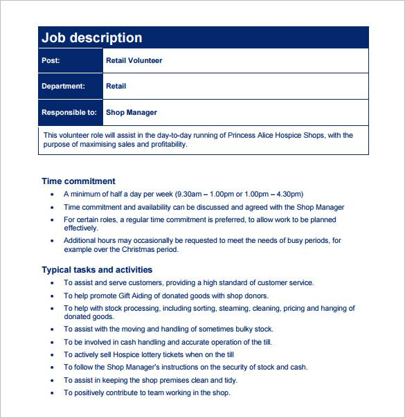 writing a job description template