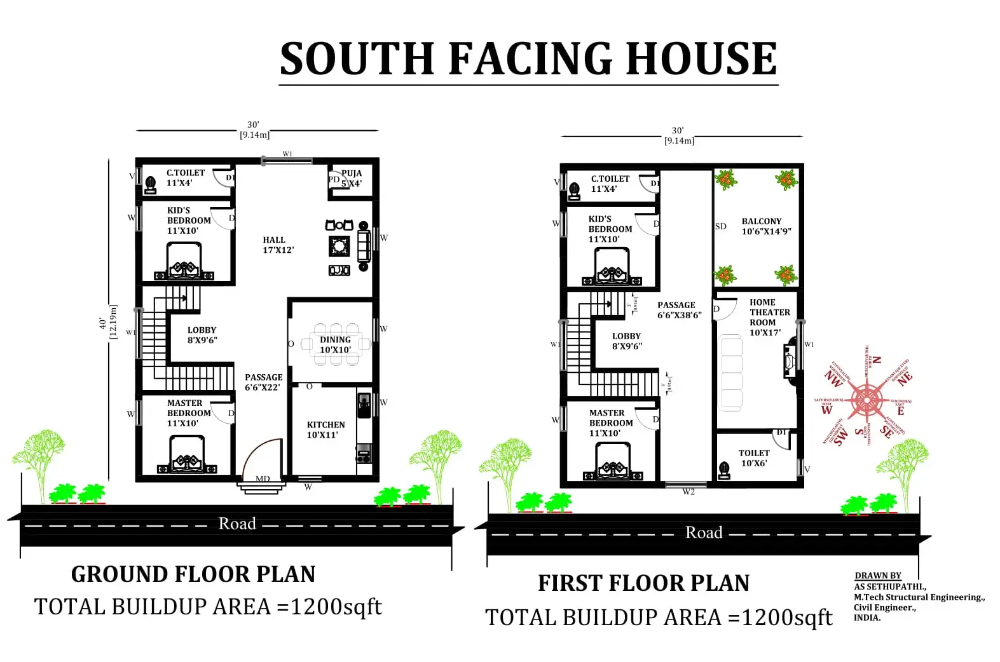 30 X40 South facing 4bhk house plan as per Vastu Shastra Download Autocad DWG and PDF file