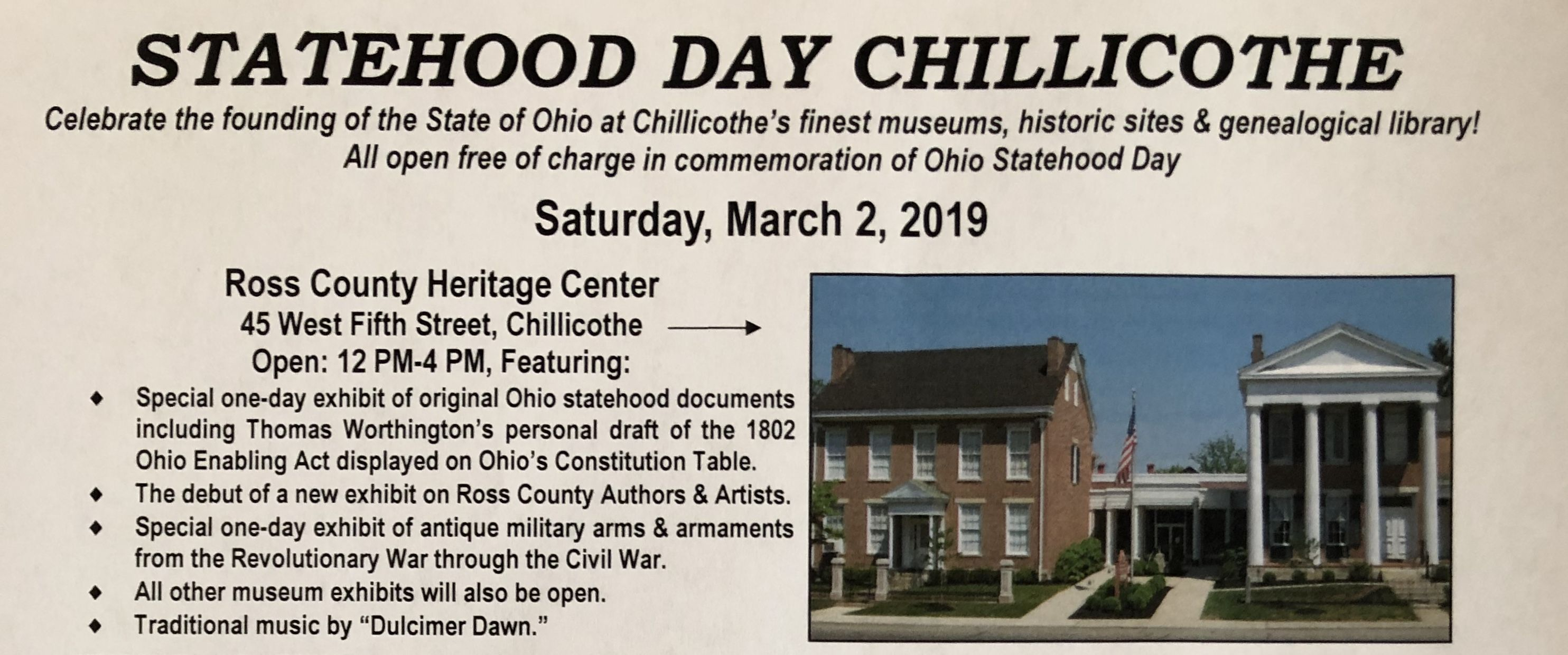 Statehood Day Will Be March 2 Free Admission To The