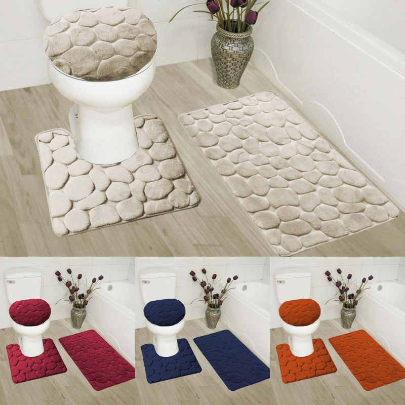 Bathmats Rugs And Toilet Covers 133696 3piece Set Velvet Memory
