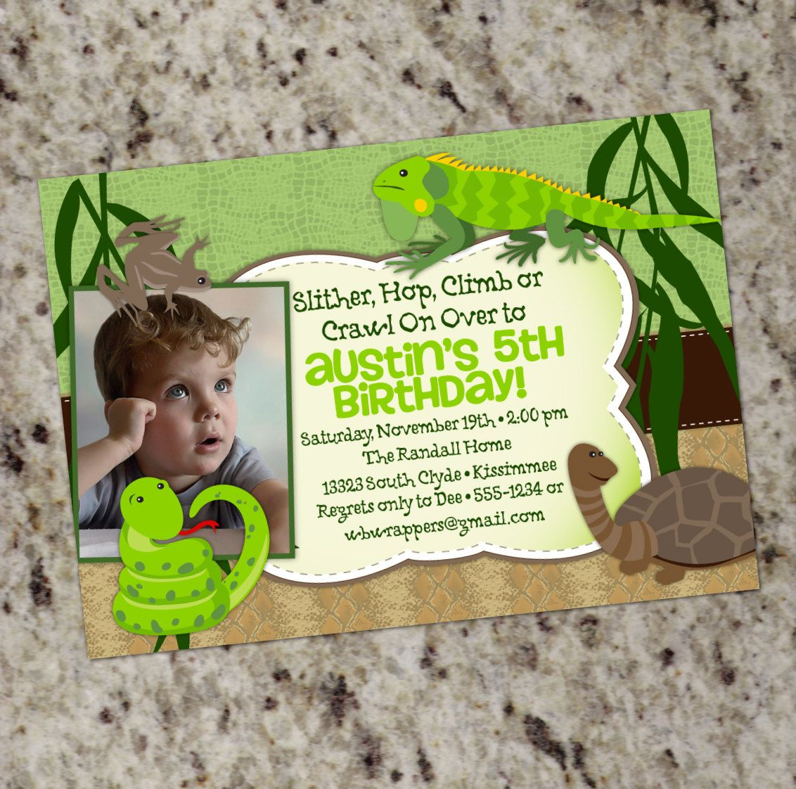 Reptile Themed Birthday Party Invitation - Printable Design. $12.99 ...