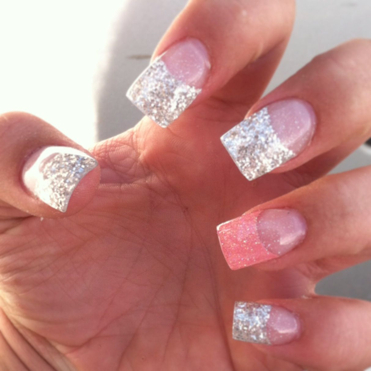 Gel Acrylic Colored Tip Nails Beauty Nails Design French Tip Acrylic Nails Acrylic Nail Tips