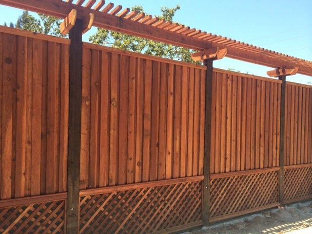 Custom Redwood Fence With Lattice Bottom And Trellis On Top Www Aandjfencing Com Trellis Fence Fence Design Redwood Fence