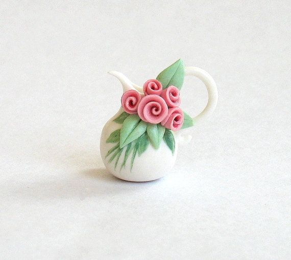Miniature Rose Cluster Pitcher OOAK by C Rohal by ArtisticSpirit, $21.50