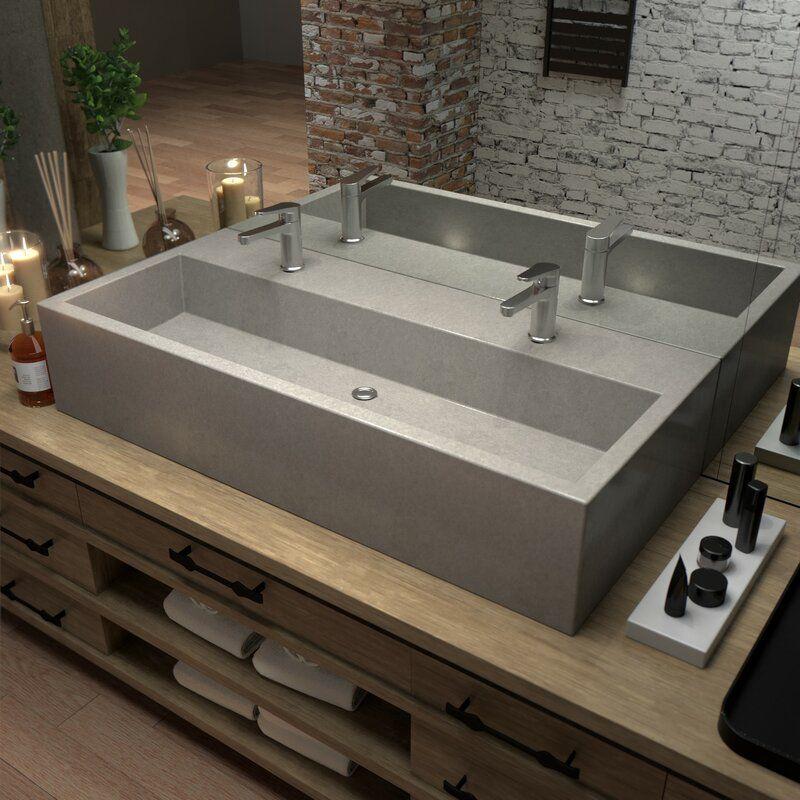 Farmhouse rectangular trough bathroom sink trough sink