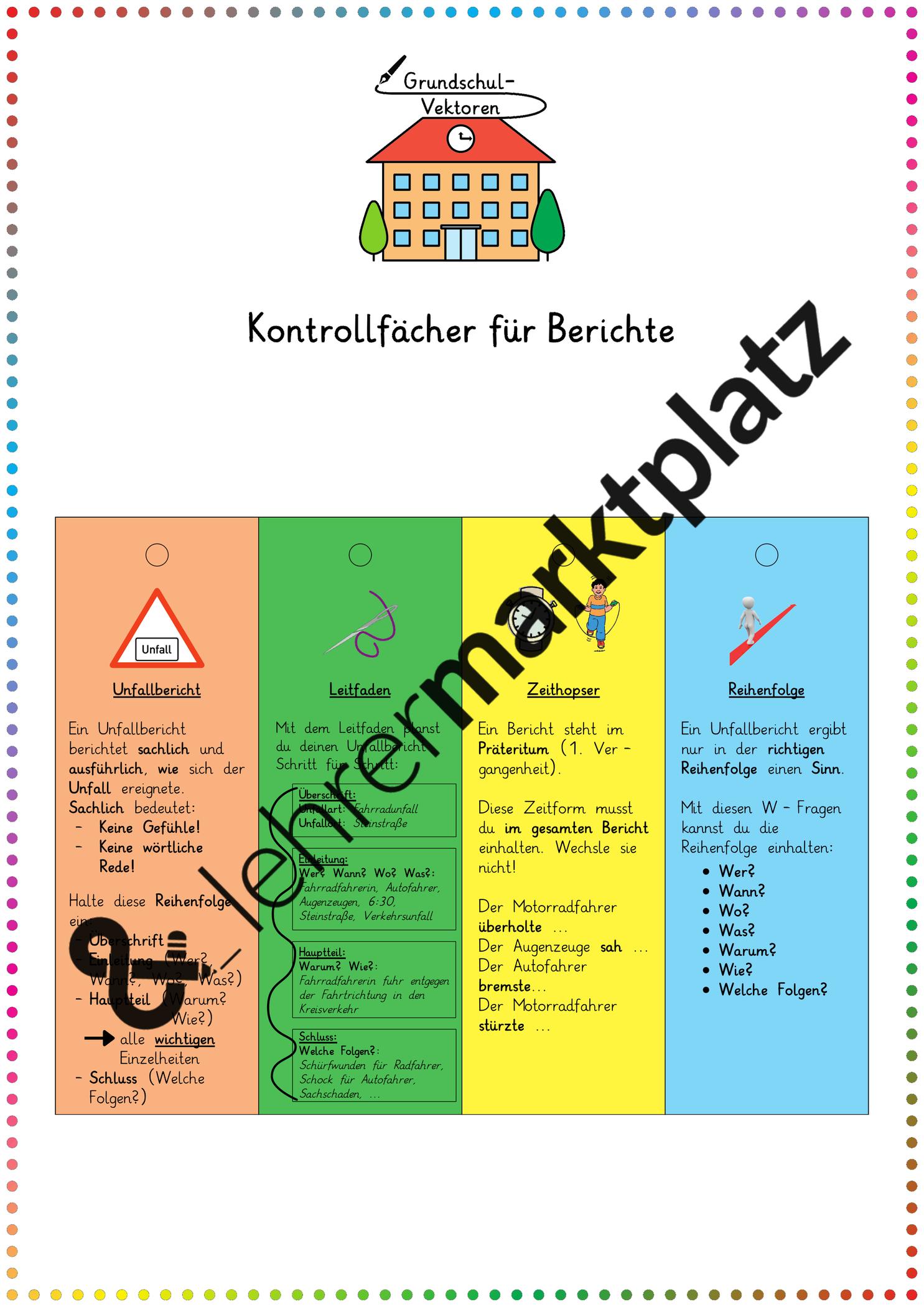 Kontrollfacher Fur Berichte Unterrichtsmaterial Im Fach Deutsch Unterrichtsmaterial Klassenarbeiten Deutsch