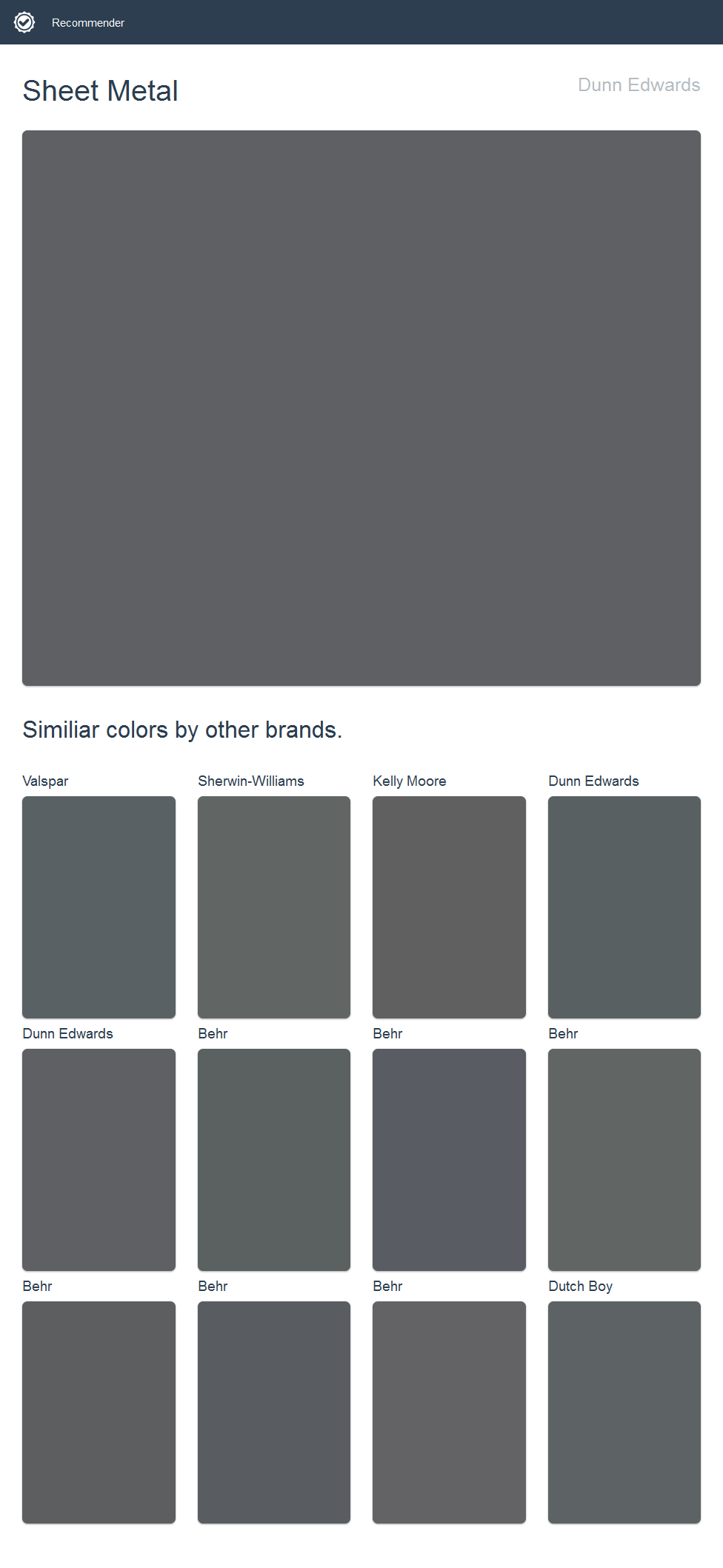 Sheet Metal, Dunn Edwards. Click the image to see similiar colors by ...