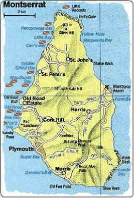 Map Of Montserrat British West IndiesDear
