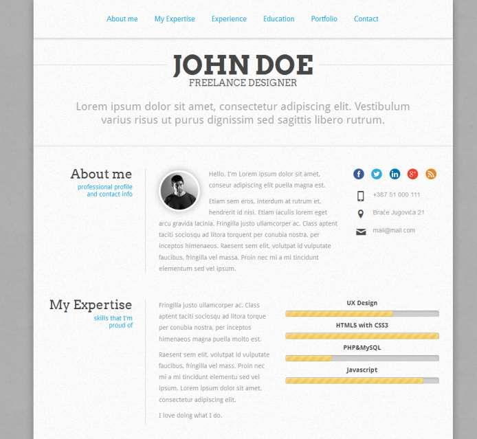 are you getting bored with your normal resume templates in a paper then here it is some of the popular resume or cv website templates - Resume Html Template