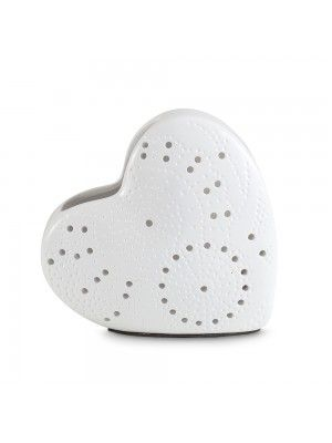 Medium Decorative Heart Shaped Table Lamp in White