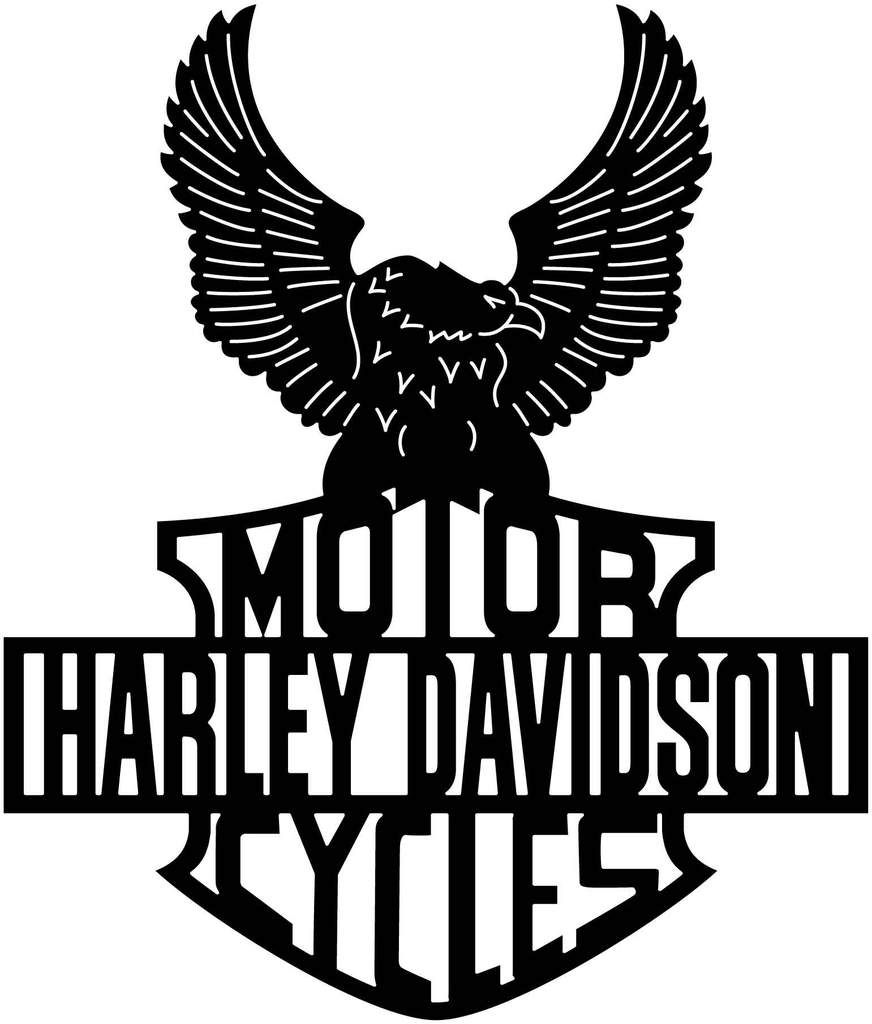 Harley davidson cycles an eagle badge dxf file cut ready for cnc machines