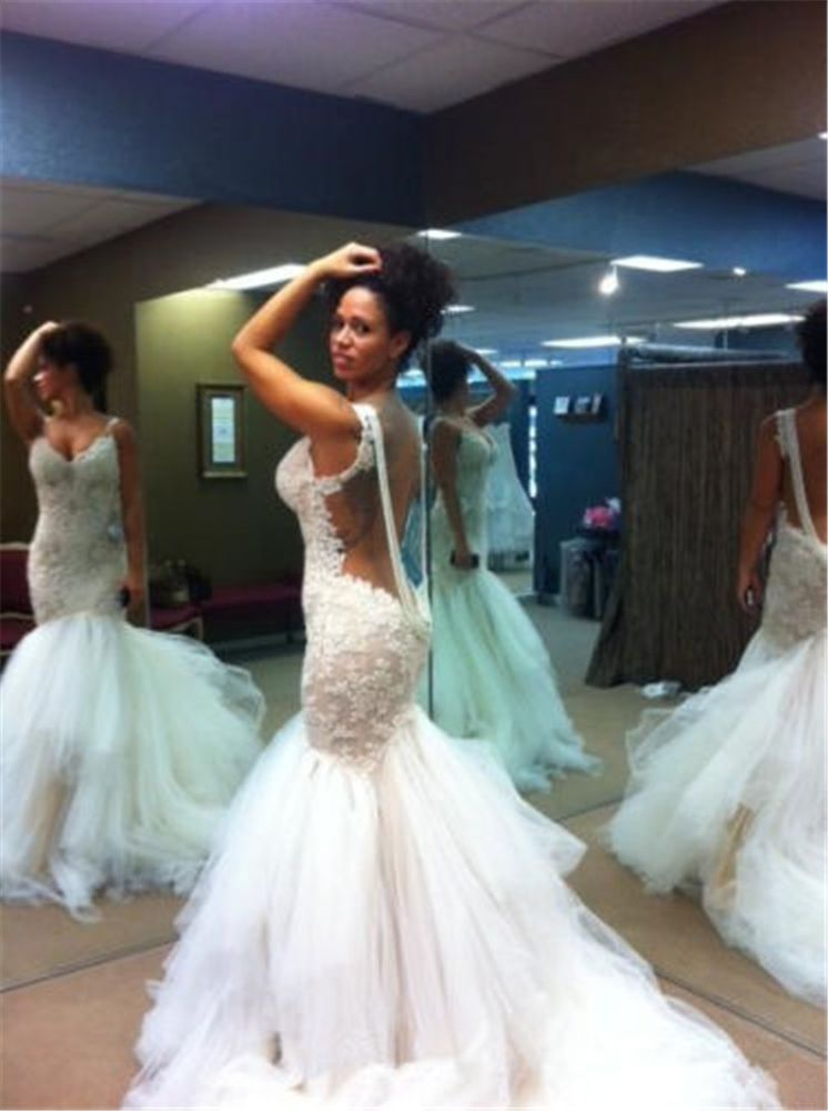 Sexy Mermaid Wedding Dresses Bling Lace Crystal Beaded Bridal Gowns Backless New