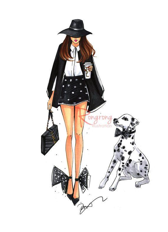 Dalmatian Illustration,Fashion Wall Art,Fashion Sketch