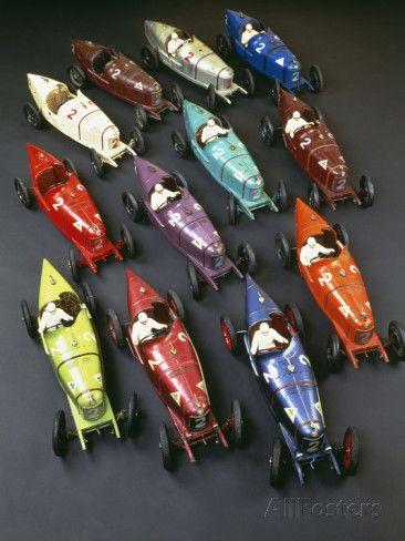 A Group Of Cij Clockwork Painted Tinplate Alfa Romeo P2 Racing Cars