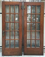 Antique beveled glass solid oak french door pair architectural antique beveled glass solid oak french door pair architectural salvage 80x30 planetlyrics Gallery