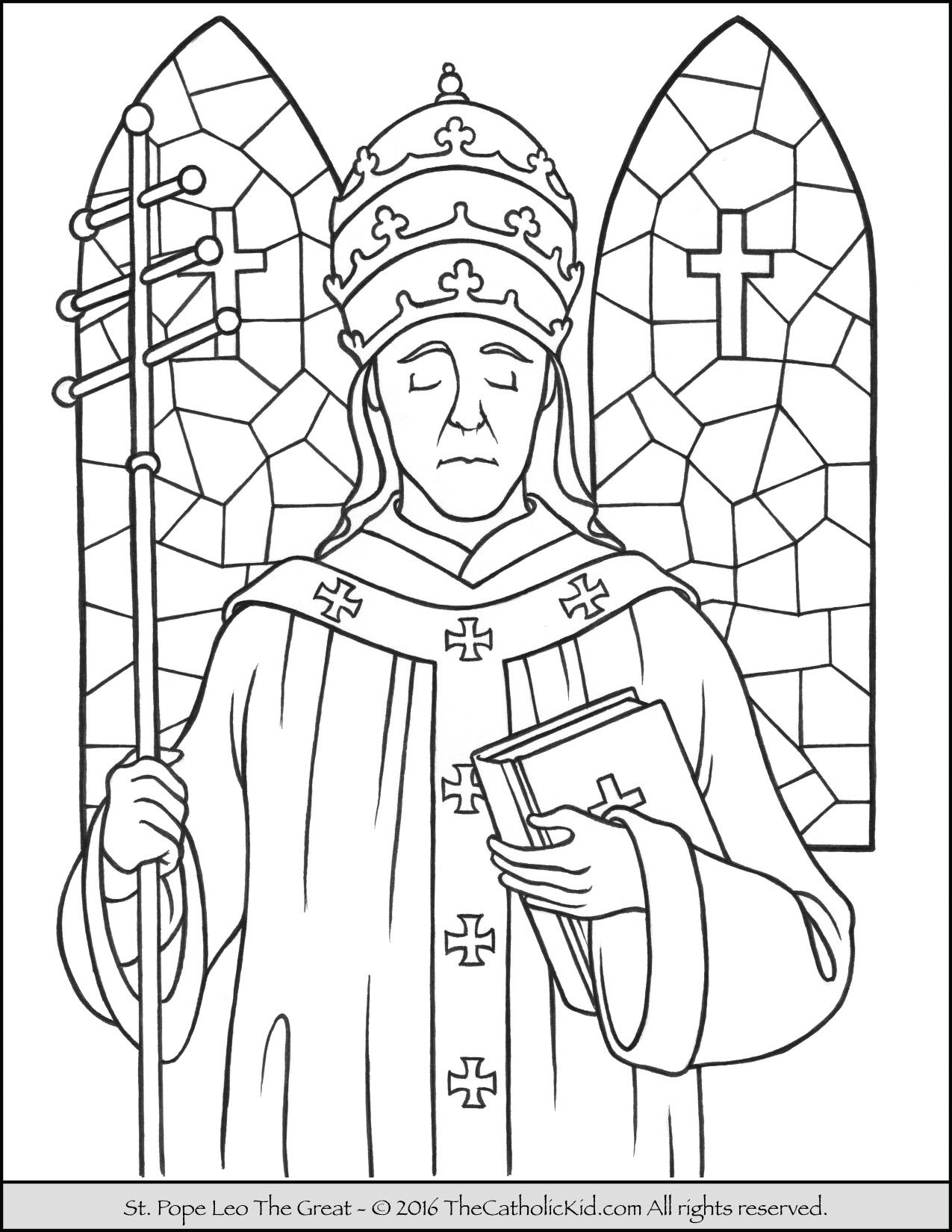 Saint Pope Leo The Great Coloring Page The Catholic Kid