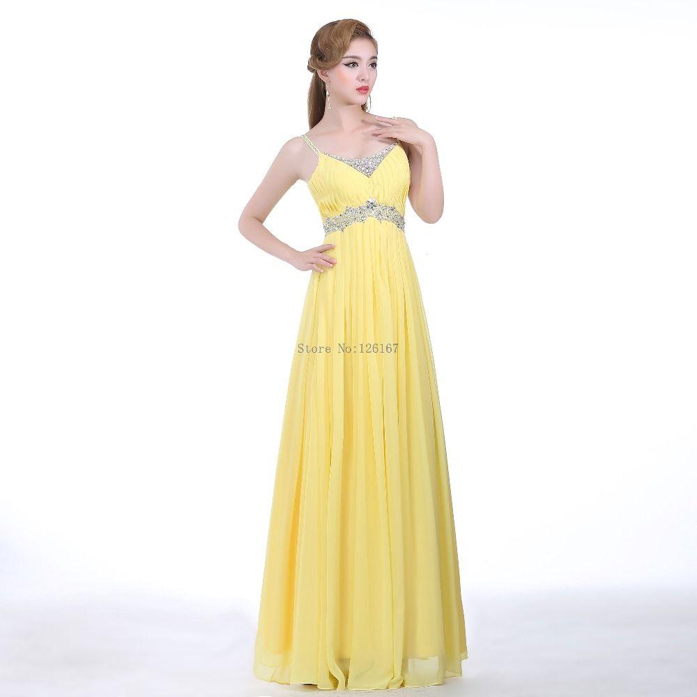 Aliexpress buy yellow chiffon long cheap in stock evening