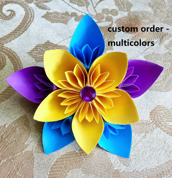 Origami flower - paper flower - christmas flower ornament - wedding centerpiece - origami sakura - origami cherry blossom #paperflowercenterpieces
