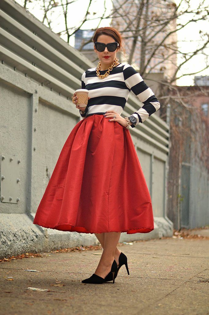 17 Best images about Red Midi Skirt on Pinterest | Jean shirts ...