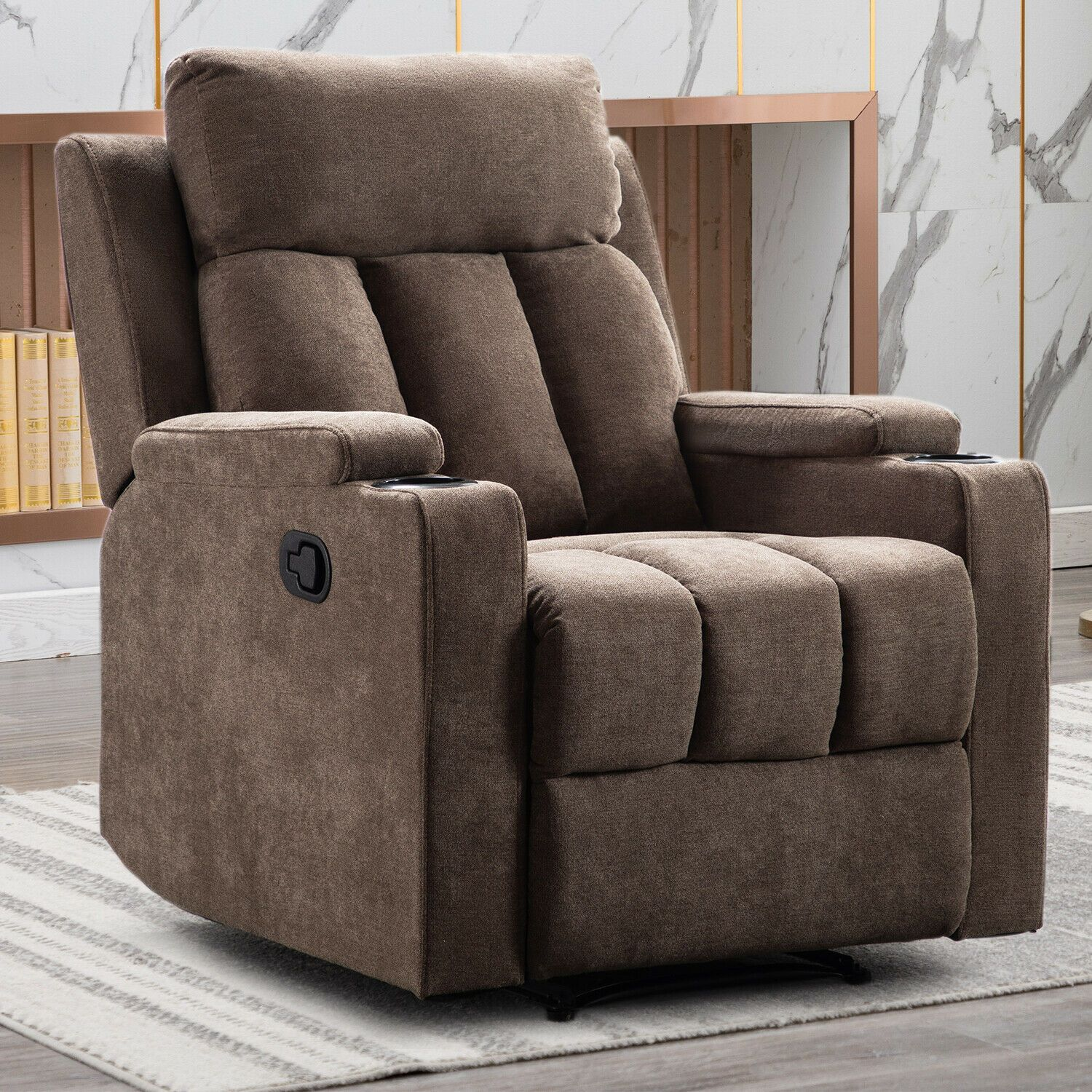 Manual Recliner Chair Contemporary Home Theater Recliner With 2 Cup Holders Sofa Microfiber Couch I In 2020 Couches For Sale Microfiber Couch Manual Recliner Chair