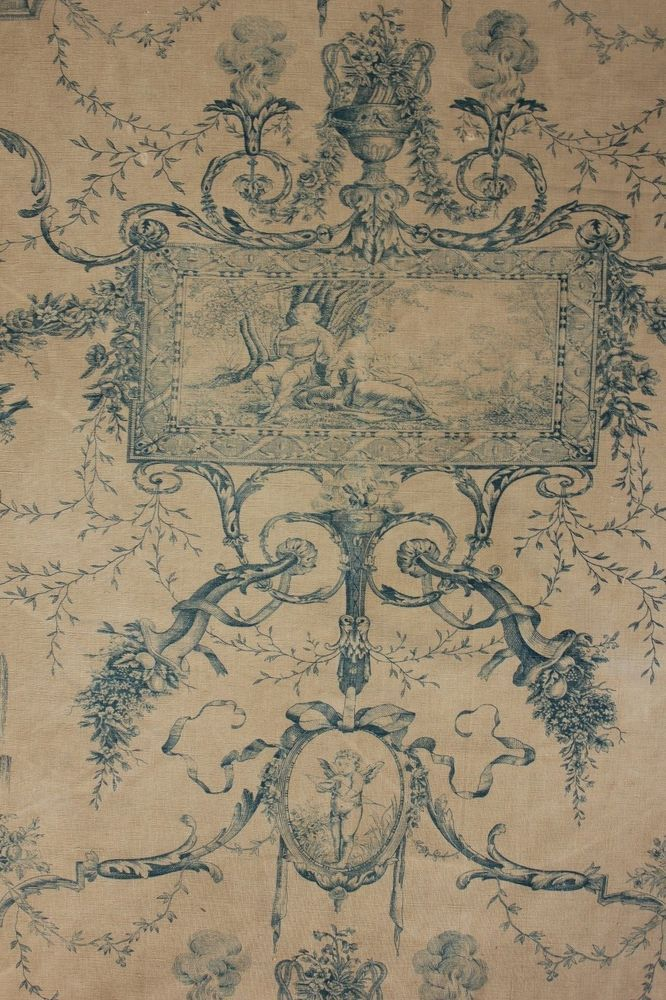 French toile de jouy antique blue printed linen cotton mix for French toile fabric