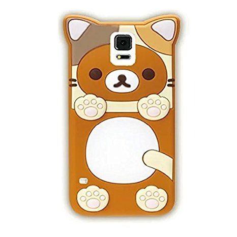 Galaxy S5 Case, Anya 3D Cute Lovely Cartoon Animal Soft Rubber Silicone Back Shell Case Cover for Samsung Galaxy S5 i9600 Case Bear Brown