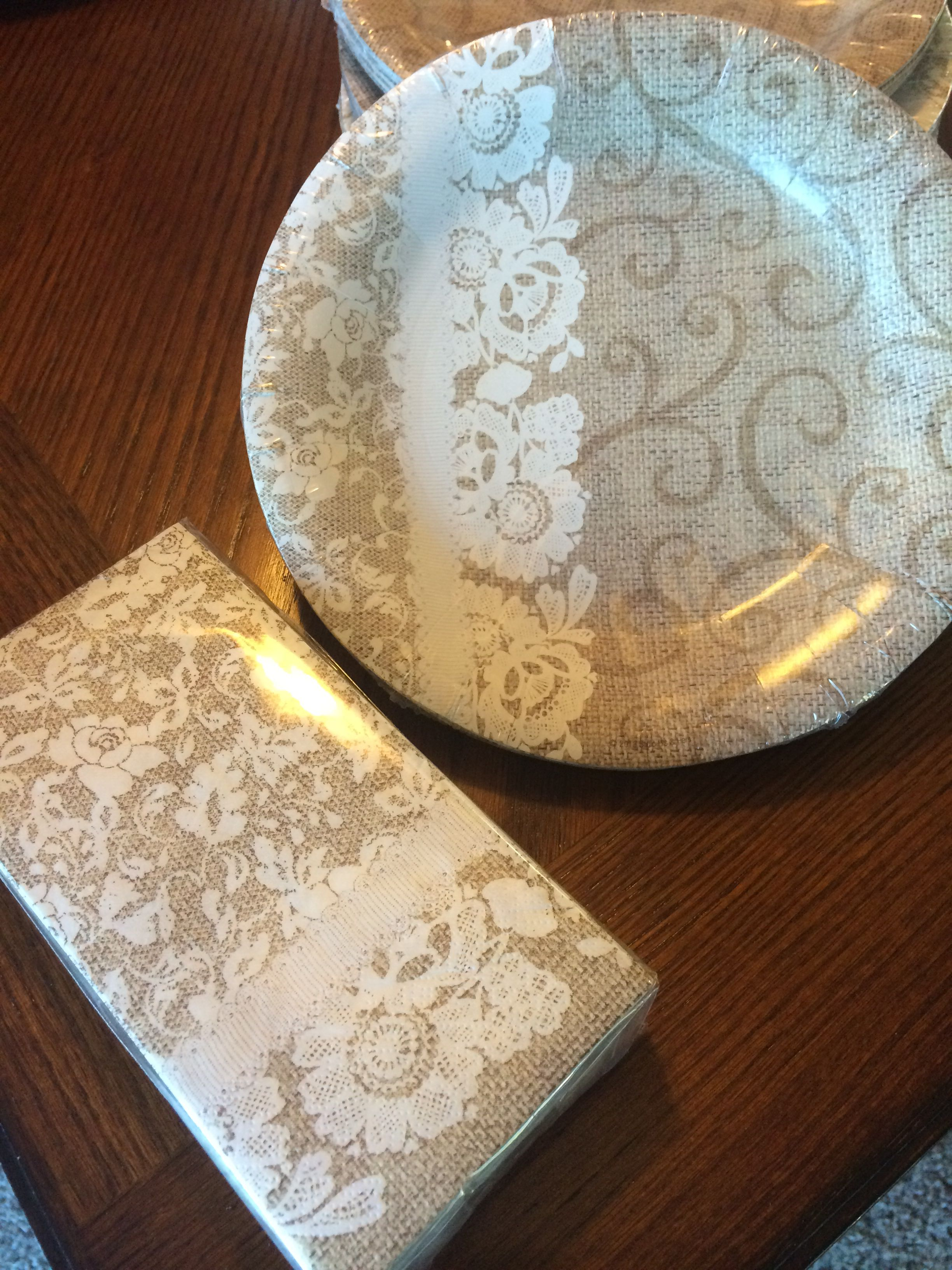 cake paper plates and napkins country chic wedding reception pinterest weddings. Black Bedroom Furniture Sets. Home Design Ideas