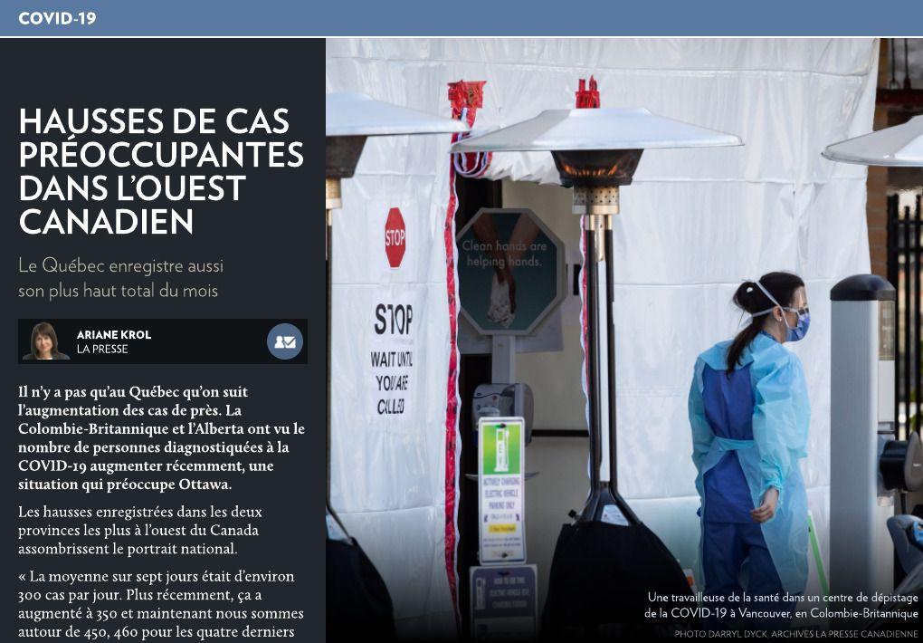 Hausses de cas préoccupantes dans l'Ouest La Presse+ in 2020