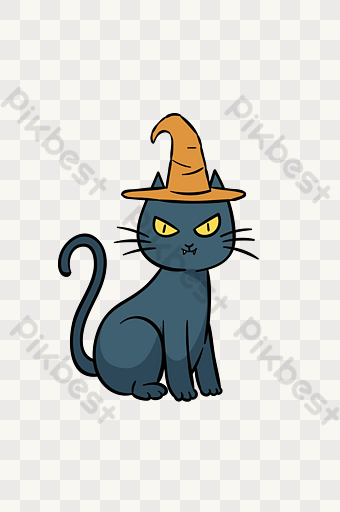 Halloween Drawing Black Cat Wizard Hat Funny Illustration Png Images Psd Free Download Pikbest Funny Illustration Png Images Cartoon Design