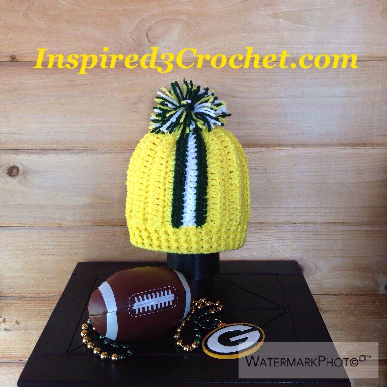 Crochet Hat Green Bay Packer Baby Green Bay Packer Inspired Helmet Stripe Pom Pom Hat Crochet St Crochet Pom Pom Hat Green Bay Packers Baby Crochet Hats