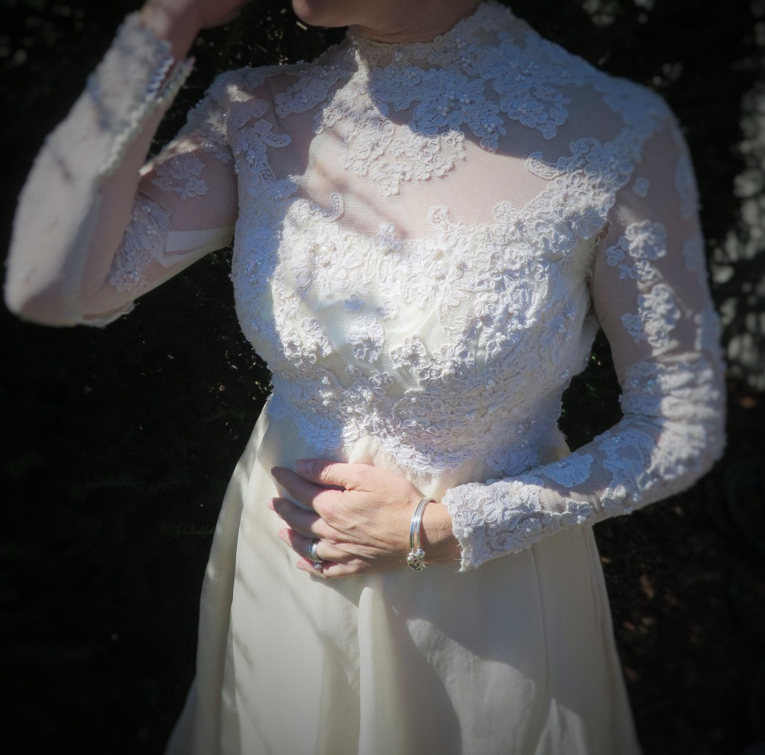 Priscilla of boston wedding dresses  Vintage Wedding Dress Teeny by Priscilla of Boston Ivory or