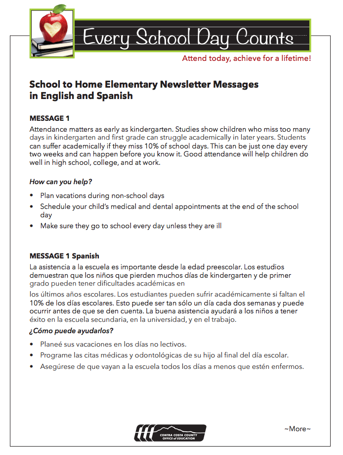 Sample Newsletter Messages For Attendance Awareness Month