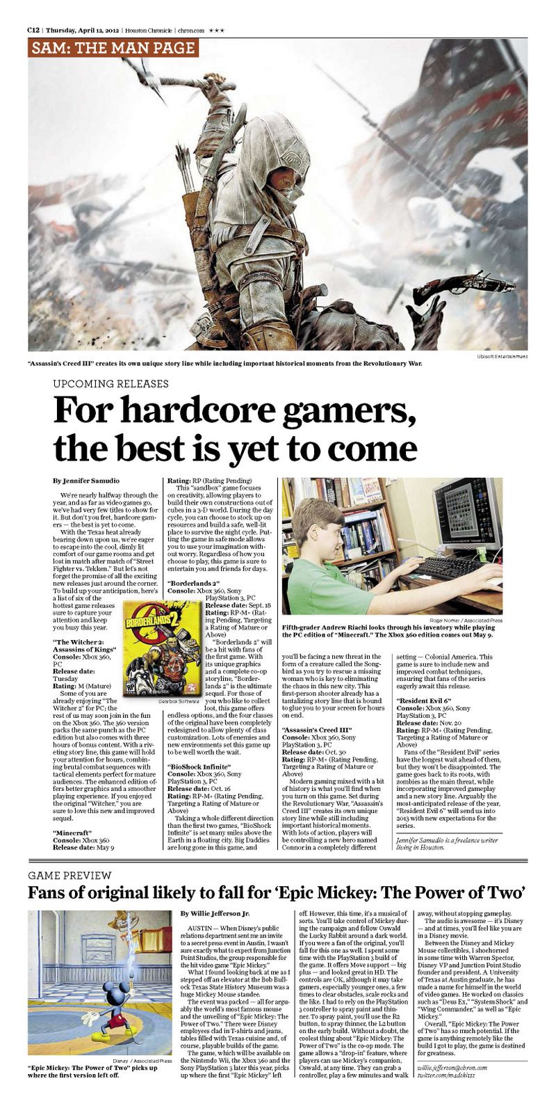 """""""Epic Mickey: The Power of Two"""" article on the Man Page, Houston Chronicle, 04.12.12"""