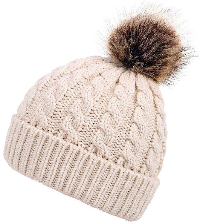 f027ead5598f3 Men   Women s Winter Cable Knit Faux Fur Pom Pom Foldable Cuff Beanie Hat  Review