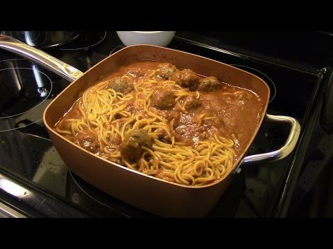 Spaghetti And Meatballs In The Copper Chef Xl Youtube Copper Pan