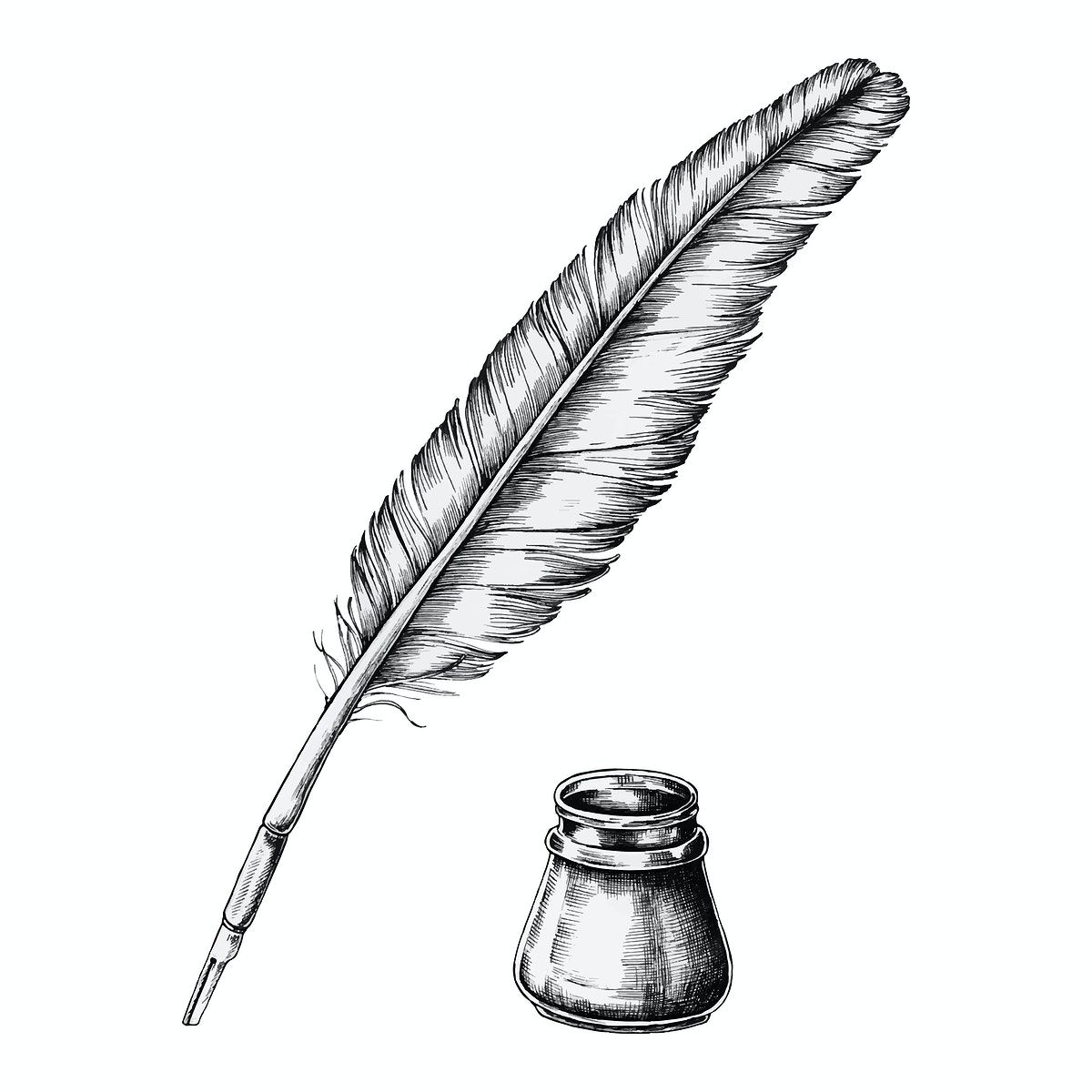 Download Premium Vector Of Hand Drawn Quill Pen With An Inkwell Vector Quill Pen Tattoo Quill Pen How To Draw Hands