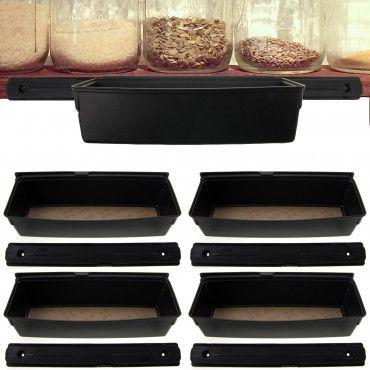 4 Rubbermaid Shelf Tracks With Sliding Removable Storage Bins