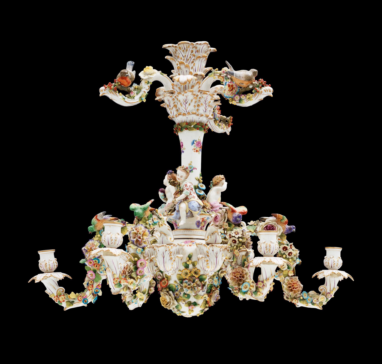 A rococo style porcelain chandelier rococo pinterest a rococo style porcelain chandelier arubaitofo Gallery