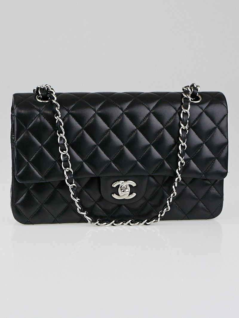 ee7d05f8fc96 Chanel Black Quilted Lambskin Leather Classic Medium Double Flap Bag $4000