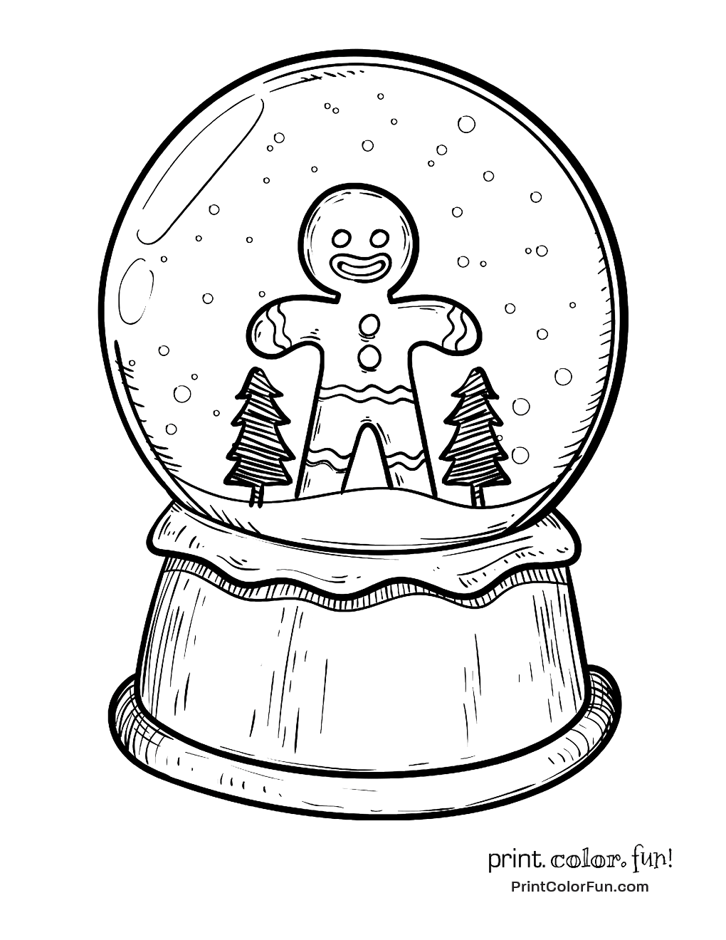 A cute gingerbread man is inside this toy snow globe just click christmas snow globe with gingerbread man coloring page print sciox Images