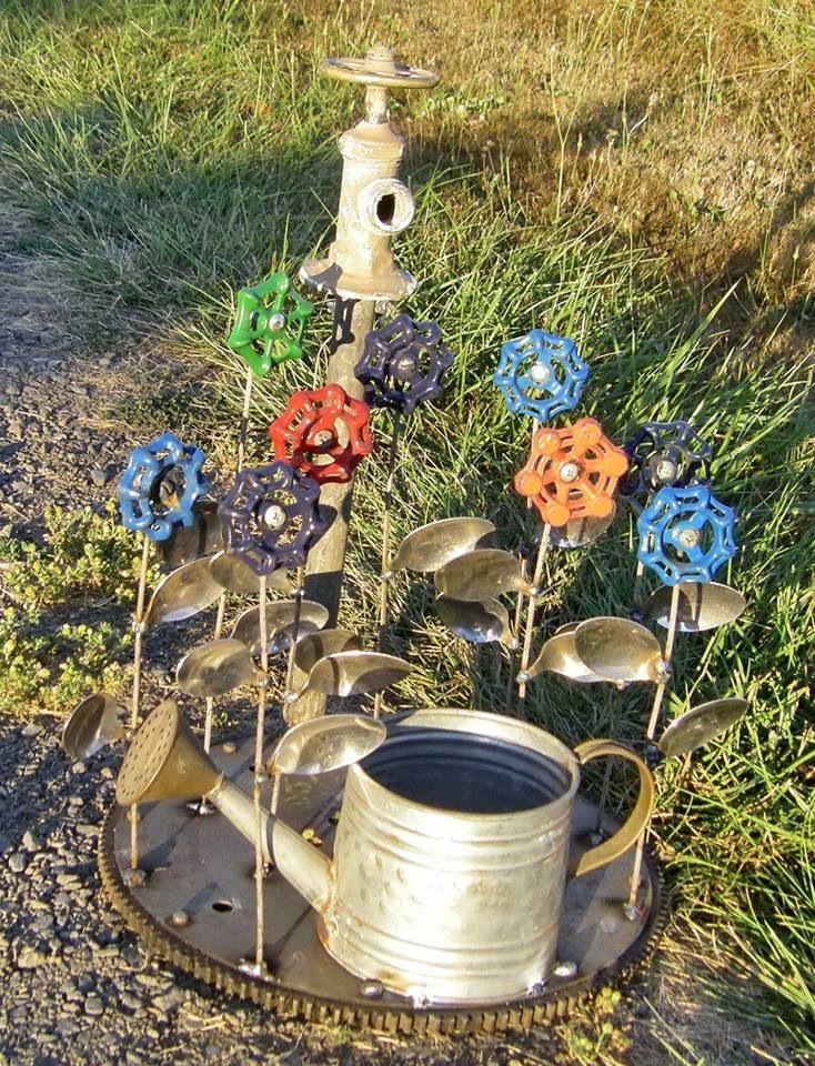 Repurpose water spigot handles into yard art., | Garden Ideas ...