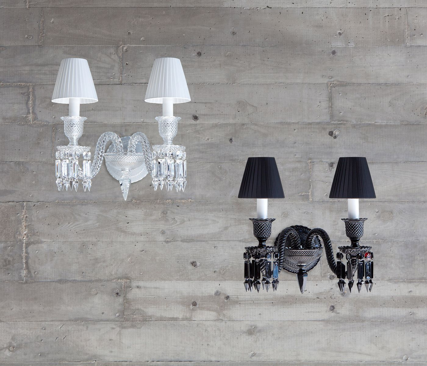 Baccarat Zenith Wand Lamp Wall Sconce White Black Noir Blanc Wall Lamps Bedroom Wall Lamp Design Crystal Wall Sconces