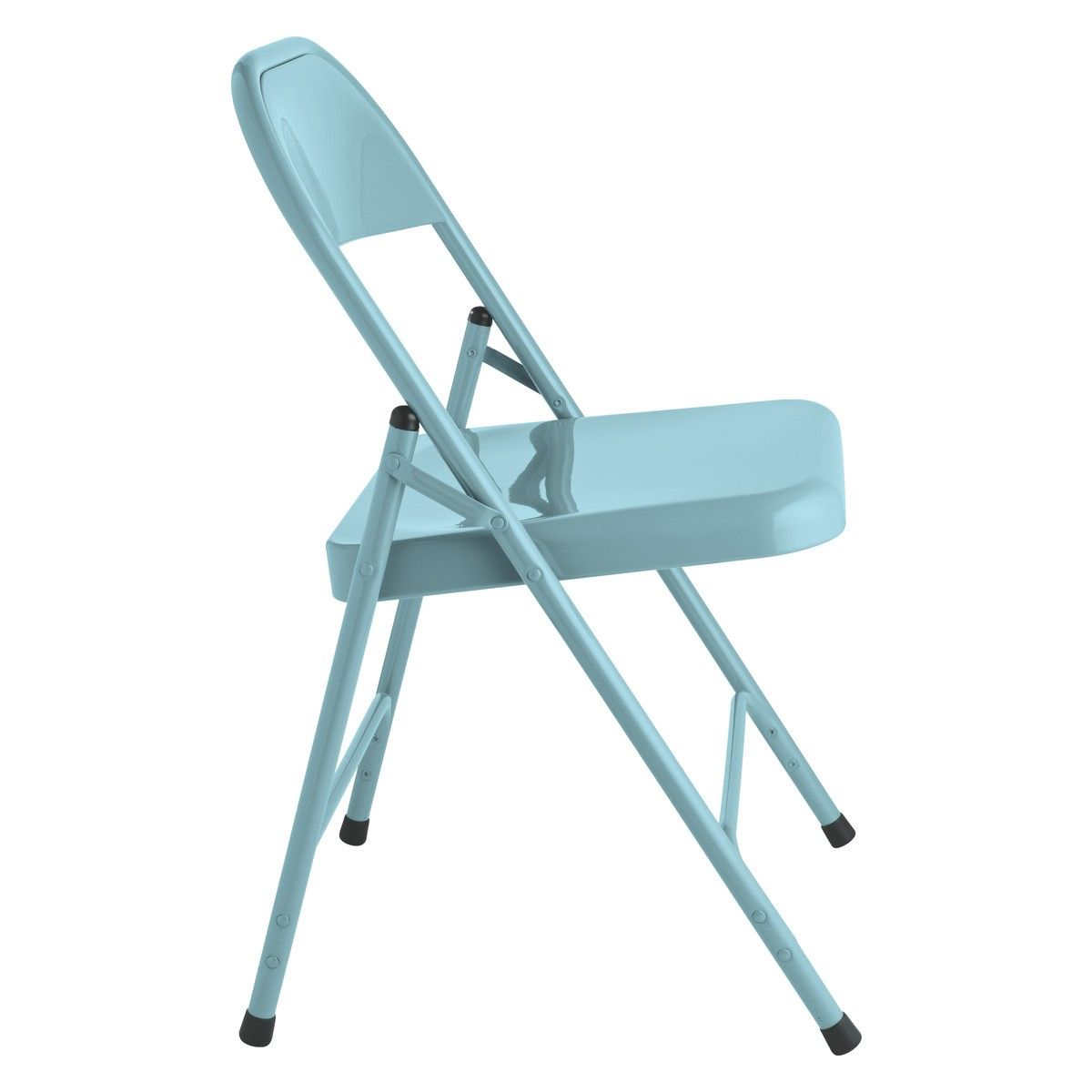 Terrific Macadam Blue Metal Folding Chair Sitting Room Metal Caraccident5 Cool Chair Designs And Ideas Caraccident5Info