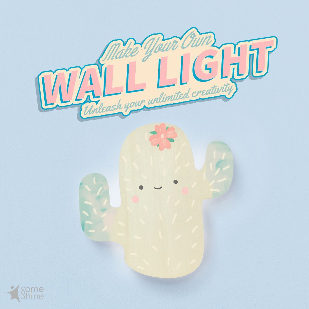 Do you want to keep the painting created by your little one? Use Wooden Wall Light as a canvas and let children use their creativity to color it. After the work is completed, it can be used as wall decoration and night light! #SomeShine #wooden #walllight #DIY #creativity #creation #walldeco #roomdeco #homedeco #kidsandparents