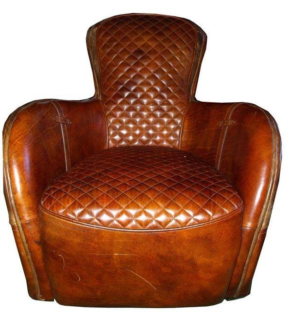 Art Deco Leather Club Chair