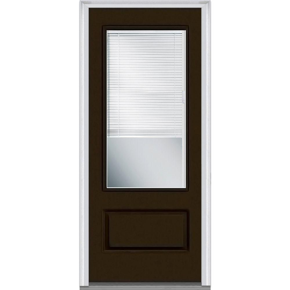Mmi Door 36 In X 80 In Internal Blinds Left Hand Inswing 3 4 Lite Clear 1 Panel Painted Fiberglass Smooth Prehung Front Door Z007841l The Home Depot Glass Front Door Exterior Doors Prehung Doors