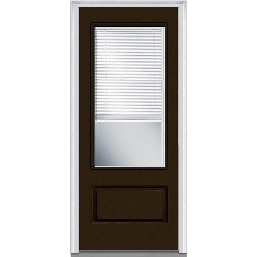 Milliken Millwork 37 5 In X 81 75 In Classic Clear Glass Rlb 3 X2f 4 Lite 1 Panel Painted Fiberglass Smooth Ex Glass Front Door Exterior Doors Prehung Doors