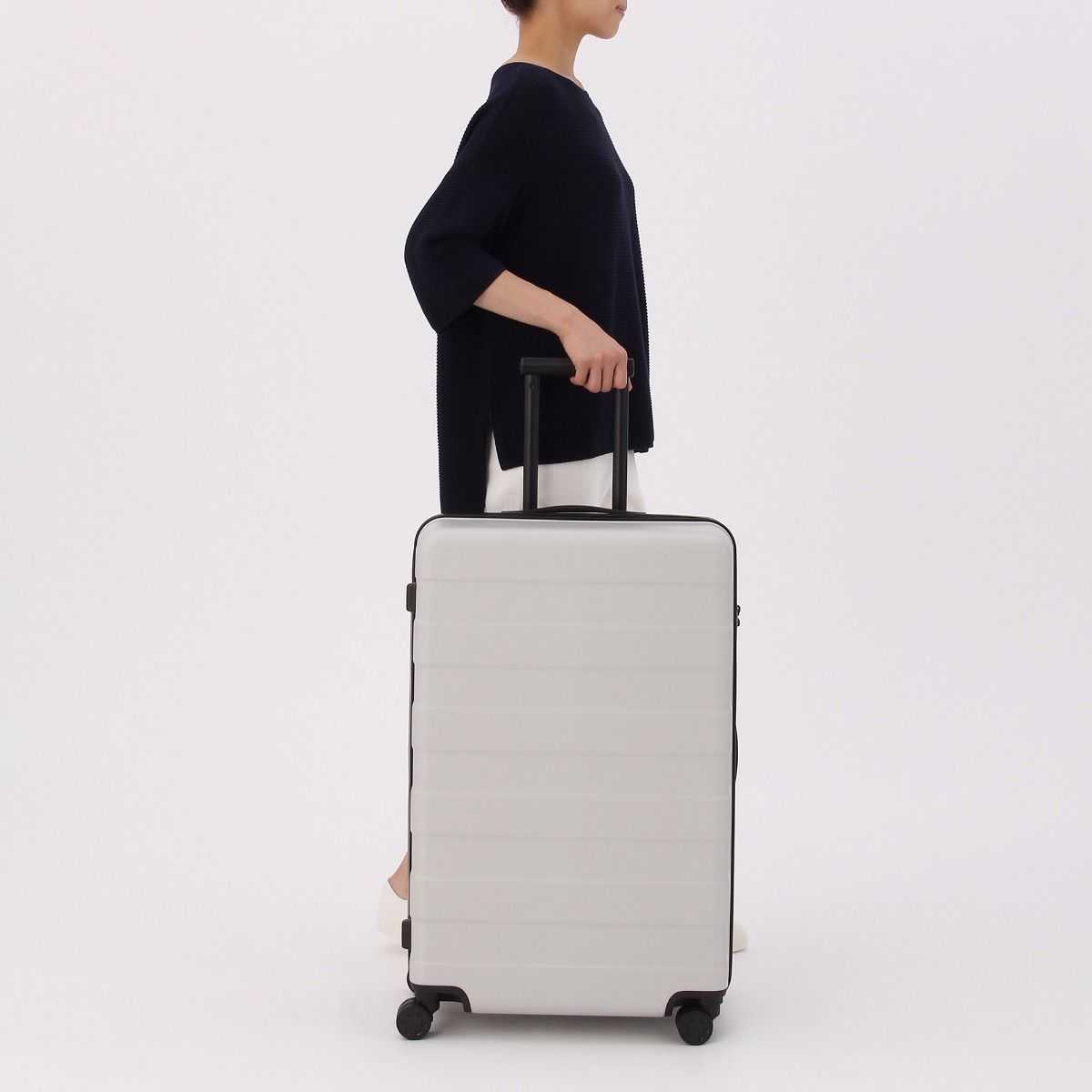 178fbde56353 Adjustable Handle Hard Carry Suitcase 87L Light Gray   Pinventory ...