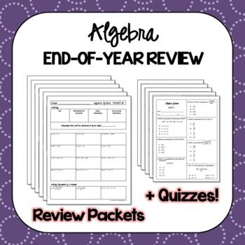 Algebra 1 Eoc Review Packets Editable Quizzes With Images