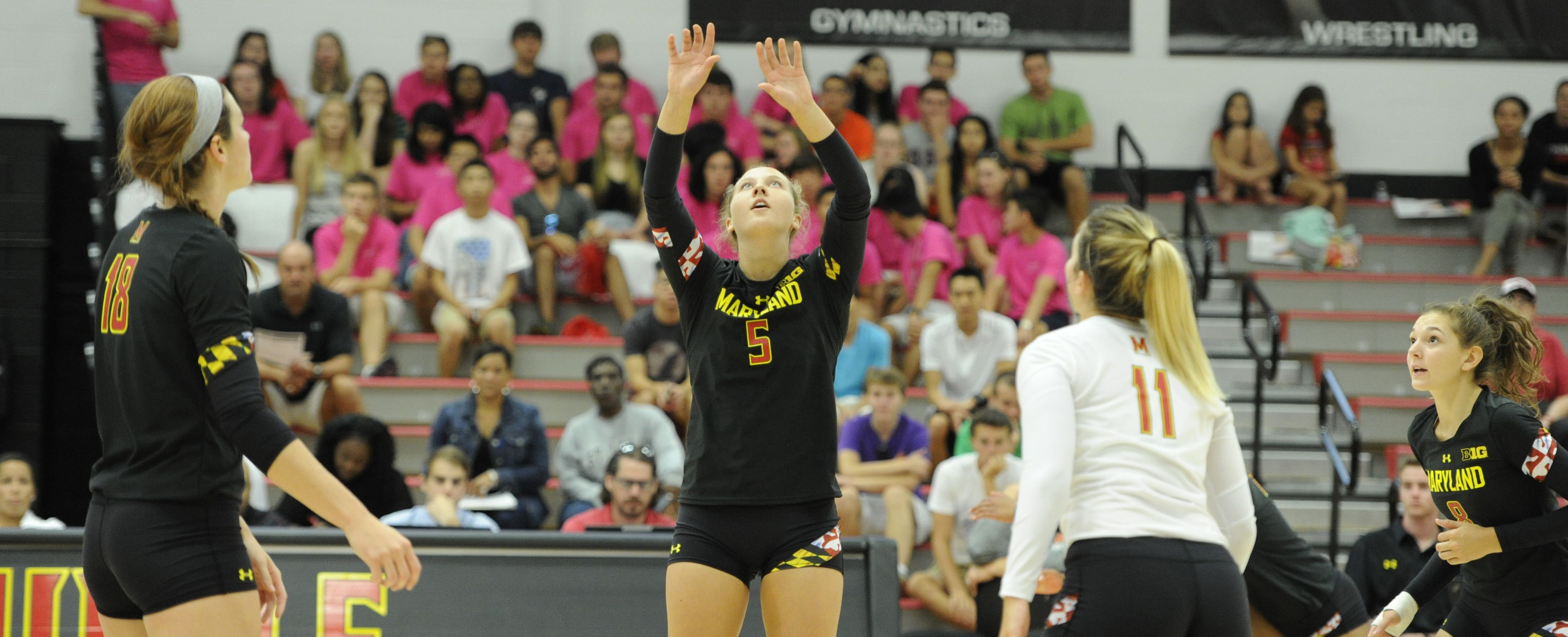 Terps Split Second Day Of Kristen Dickmann Invite University Of Maryland Athletics Volleyball News Volleyball Team Athlete